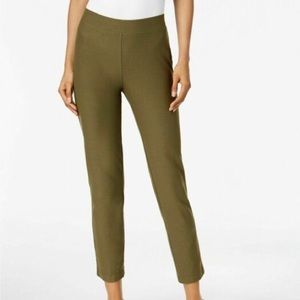 Eileen Fisher green crepe skinny pants